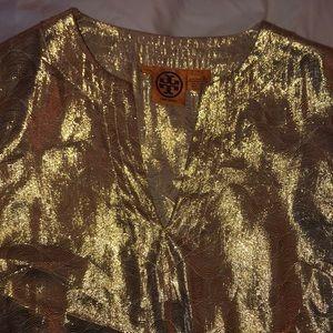Tory Burch gold foil dress